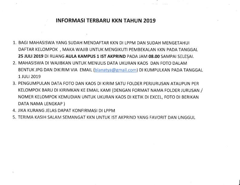 Informasi Terbaru KKN Tahun 2019_001