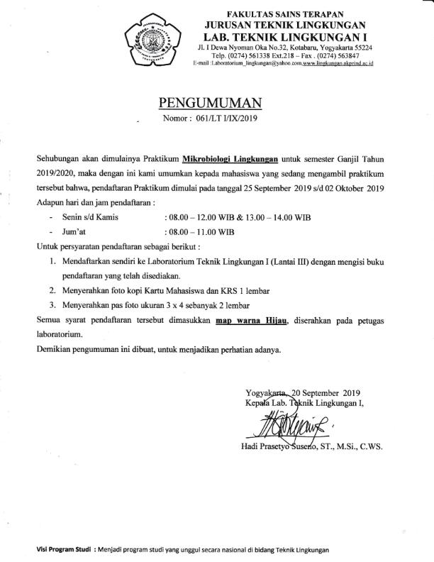 Pengumuman Praktikum Mikrobiologi Lingkungan_001