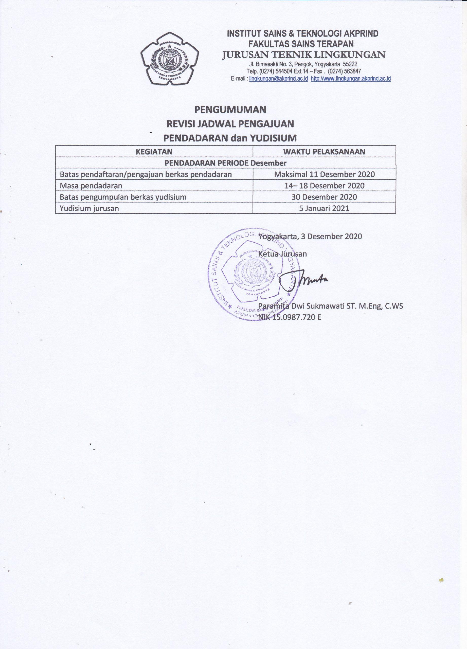 Pengumuman  Jadwal Pengajuan Pendadaran Dan Yudisium Semester Genap 2020/2021
